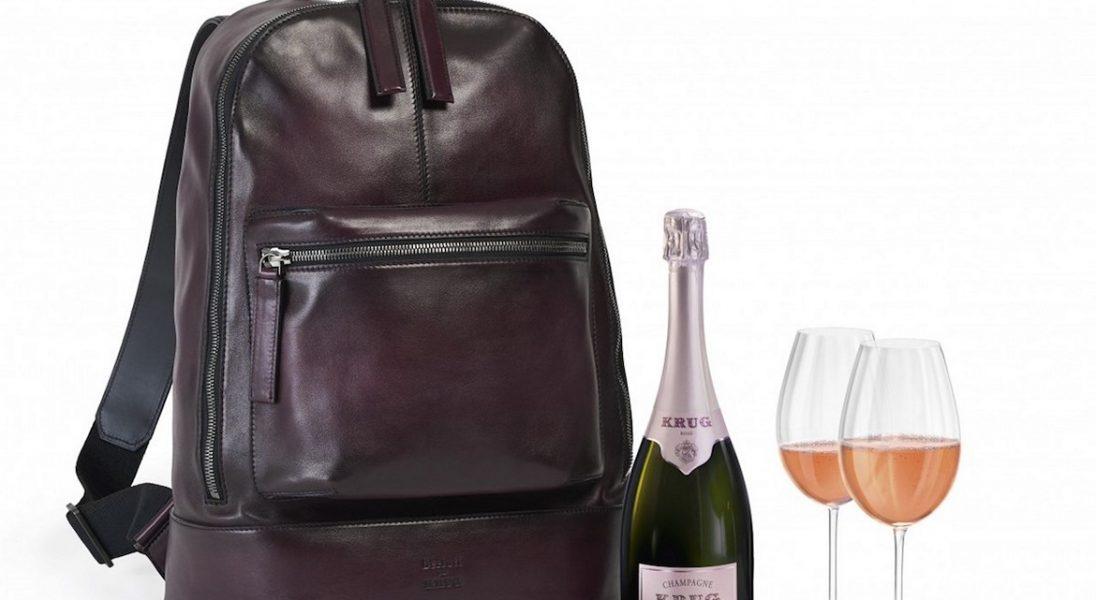 Plecak na szampana od Berluti i Krug doskonale sprawdzi się podczas sylwestrowej wycieczki