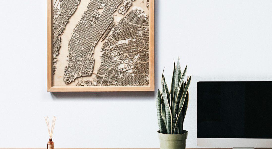 CityWood to minimalistyczne, drewniane mapy 3D, które powiesisz na ścianie