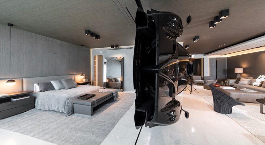 W tym apartamencie w Miami główną atrakcją jest unosząca się w powietrzu Pagani Zonda R