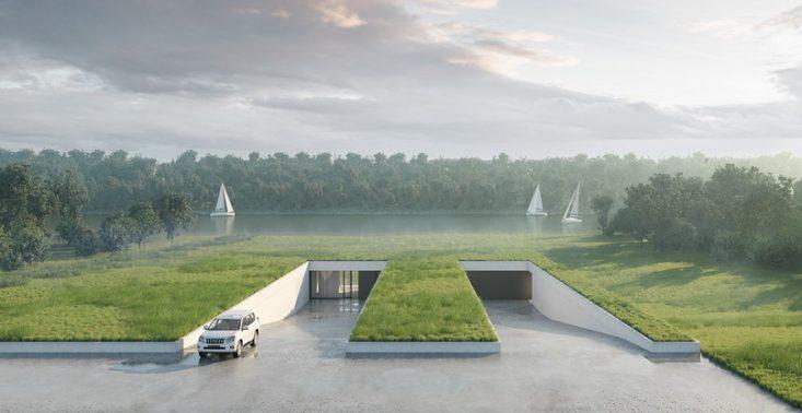 Zobaczcie projekt domu ukrytego w łące stworzony przez warszawskie studio 81.waw.pl<