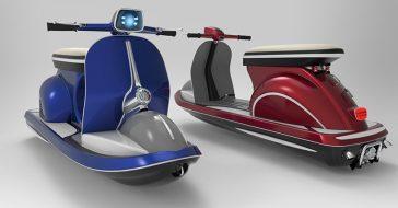 Ten zaskakujący projekt zakłada połączenie nowoczesnego skutera wodnego z... Vespą 50 z lat 60.