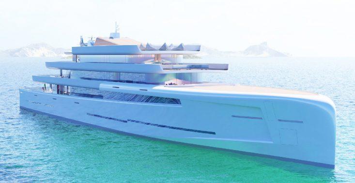 Lustrzany jacht, kt&oacute;ry wtapia się w krajobraz<