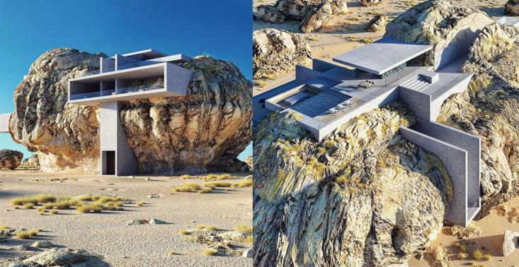"""Niepowtarzalny ,,dom w kamieniu"""" będący idealnym połączeniem natury i nowoczesnego designu<"""