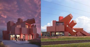 Modernistyczny budynek z kontenerów, czyli użyteczność połączona z designem