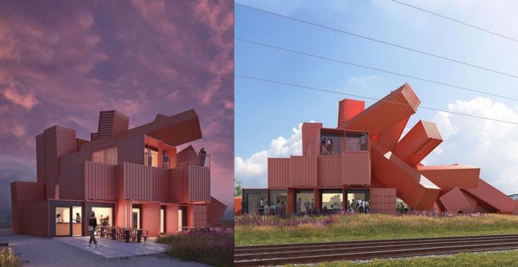 Modernistyczny budynek z kontenerów, czyli użyteczność połączona z designem<