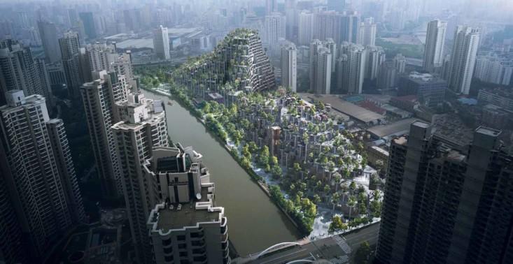 Niesamowita, porośnięta roślinnością galeria handlowa w Szanghaju<