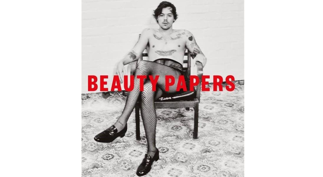 Harry Styles w kabaretkach pozuje na okładce magazynu Beauty Papers