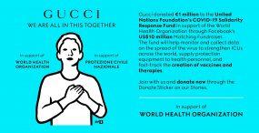 Gucci udostępniło swoje social media Światowej Organizacji Zdrowia, by edukować na temat koronawirusa