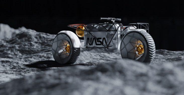 Czy tak będzie wyglądać motocykl, który będzie jeździć po księżycu?<