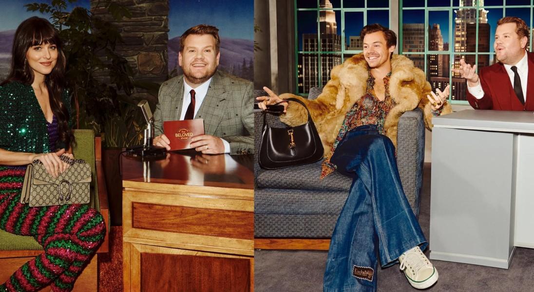 The Beloved Show: Harry Styles i Dakota Johnson wzięli udział w talk-show Jamesa Cordena w nowej kampanii Gucci