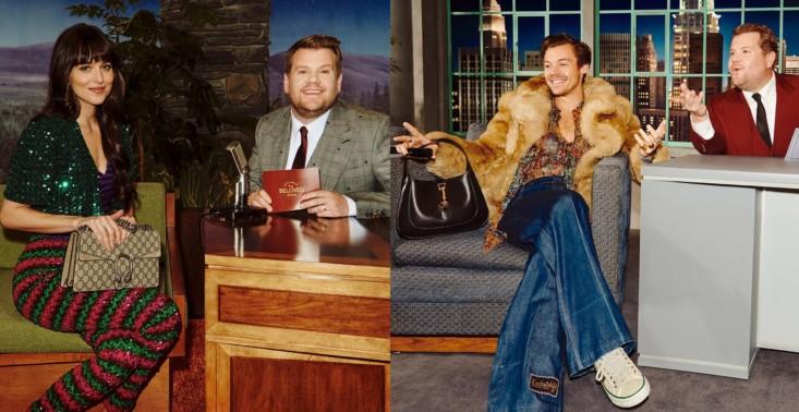 The Beloved Show: Harry Styles i Dakota Johnson wzięli udział w talk-show Jamesa Cordena w nowej kampanii Gucci<